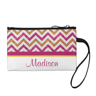 Pink and Gold Chevron Personalized Coin Clutch