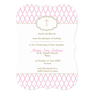 Pink and Gold Christening Baptism Invitation
