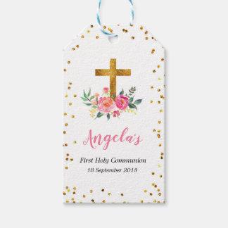 Pink and Gold Christening Thank You Tag