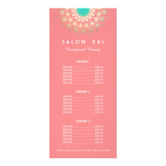 Pink and Gold Circle Motif Price List Menu Custom Rack Cards