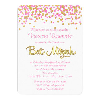 Pink and Gold Confetti Bat Mitzvah Card
