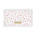 Pink and Gold Confetti Dots Monogram Acrylic Tray
