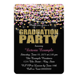 Pink and Gold Confetti Graduation Party Cards