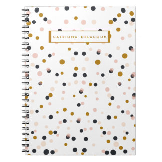 Pink and Gold Confetti Personalized Notebook