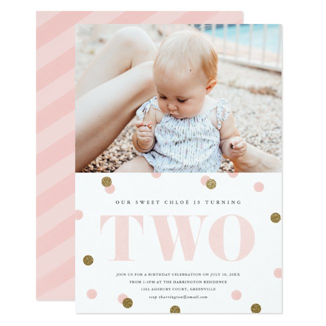 Pink and gold confetti second birthday party photo invitation