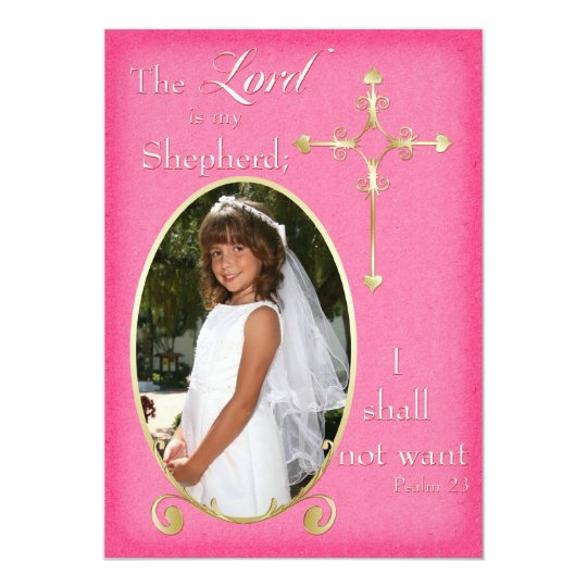 Pink and Gold Cross Photo Communion Announcement