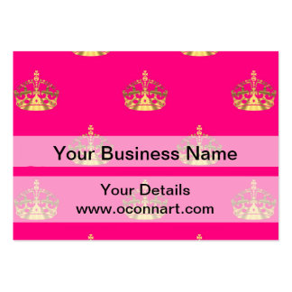 Pink and gold crown pattern large business cards (Pack of 100)