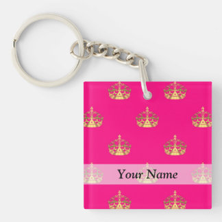 Pink and gold crown pattern keychain