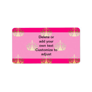 Pink and gold crown pattern address label