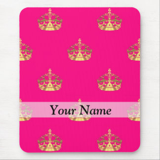 Pink and gold crown pattern mouse pad