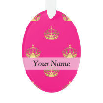 Pink and gold crown pattern ornament