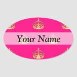 Pink and gold crown pattern oval stickers