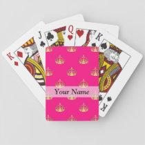 Pink and gold crown pattern playing cards