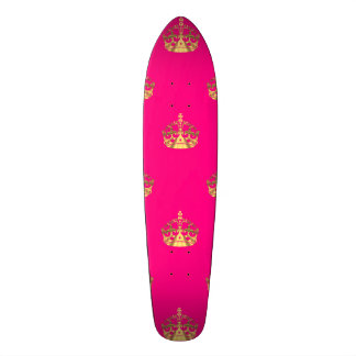 Pink and gold crown pattern skateboard
