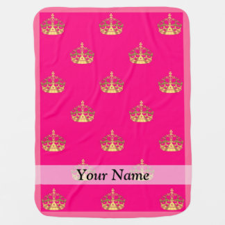 Pink and gold crown pattern stroller blanket
