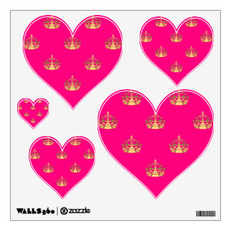Pink and gold crown pattern wall sticker