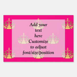 Pink and gold crown pattern yard signs