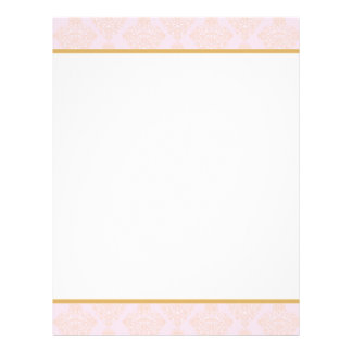 Pink and Gold Damask Letterhead