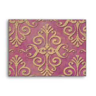Pink and Gold Distressed Grunge Damask Envelope