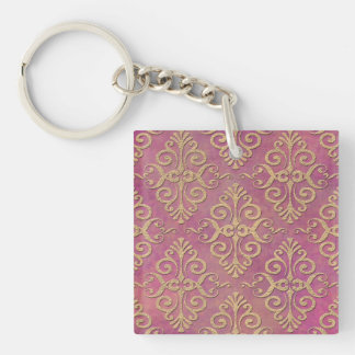 Pink and Gold Distressed Grunge Damask Keychain