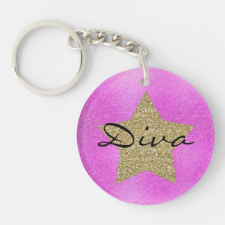 Pink and Gold Diva Key Chain