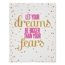 Pink and Gold Dreams Inspirational Quote Poster