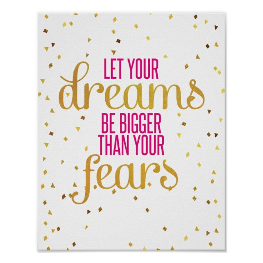 Gold Quote | Pink And Gold Dreams Inspirational Quote Poster Zazzle Com
