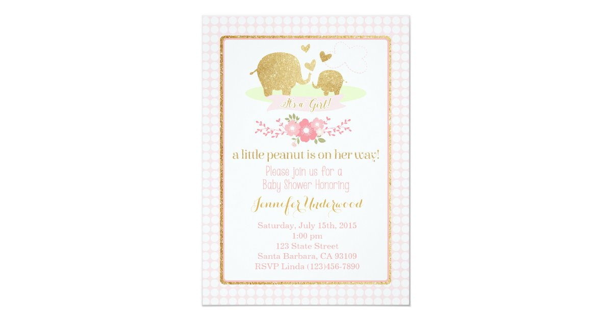 Pink and Gold Elephant Baby Shower Invitation | Zazzle.com