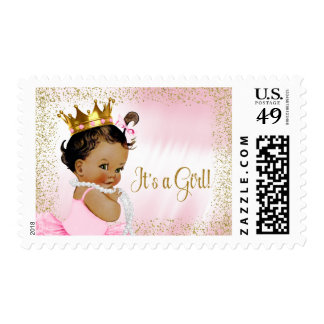 Pink and Gold Ethnic Princess Baby Postage Stamps