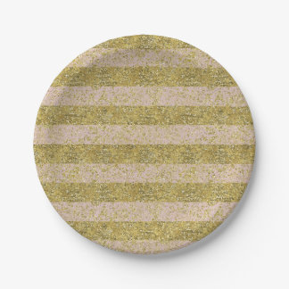 Pink and Gold Faux Glitter Stripes glitzy chic gir Paper Plate