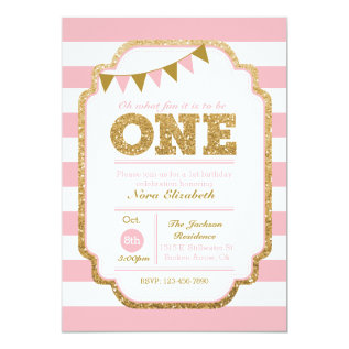 Pink and gold First Birthday Invitation at Zazzle