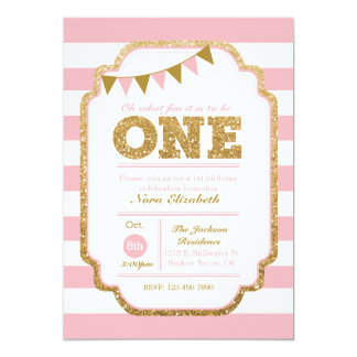 Pink And Gold First Birthday Invitation  Birthday Invitation Pictures