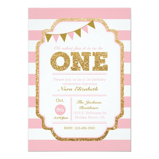 Pink and gold First Birthday Invitation Zazzlecom