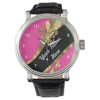 Pink and gold fleur de lys personalized wrist watches