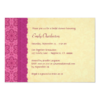 Pink and Gold Floral and Lace Bridal Shower V03C 5x7 Paper Invitation Card