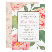 Pink and Gold Floral botanical bridal shower Card