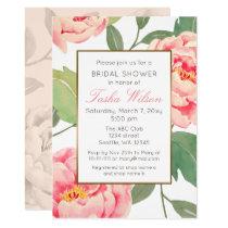 Pink and Gold Floral botanical bridal shower Card
