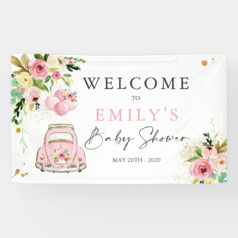 Pink And Gold Floral Drive By Baby Shower Welcome Banner