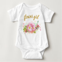 Pink and Gold Floral Girl All-In-One Outfit Baby Bodysuit