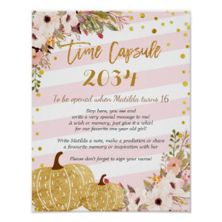 Pink and Gold Floral Pumpkin Time Capsule Poster