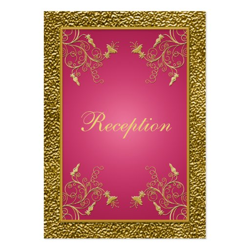 Pink and gold floral reception enclosure card business