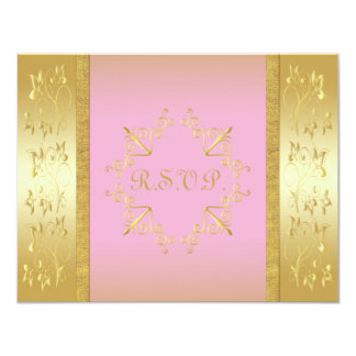 Pink and Gold Floral RSVP Card Custom Announcements