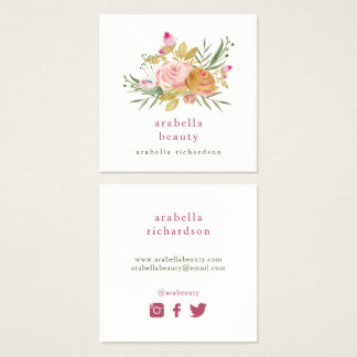 Pink and Gold Floral | Social Media Icons Square Business Card