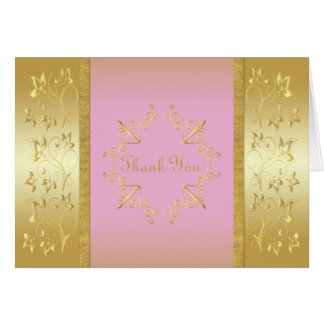 Pink and Gold Floral Thank You Card Greeting Cards