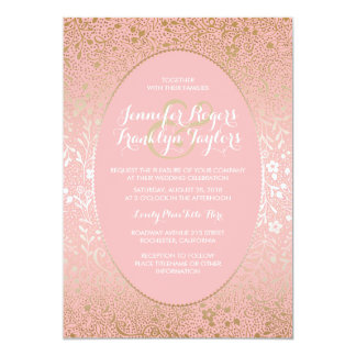 Pink and Gold Floral Vintage Wedding Invitations