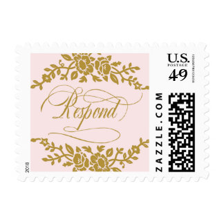 Pink and Gold Flower Response Postage