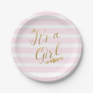 Pink and Gold Flower Stripes Baby Shower Paper Plate