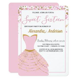 Pink and Gold Foil Dress Sweet 16 Birthday Card