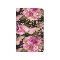 Pink and Gold Foil Floral Butterfly Pattern Journal
