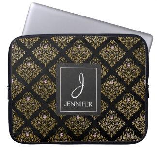 Pink and Gold Foil Floral Pattern Elegant Monogram Laptop Sleeve